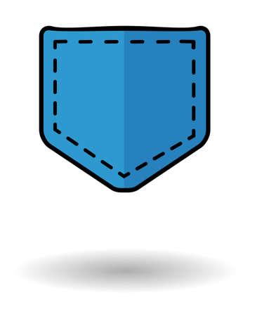 de vaqueros: Icono del vector de bolsillo de los pantalones vaqueros con la sombra. Icono de bolsillo azul aislado sobre fondo blanco Vectores