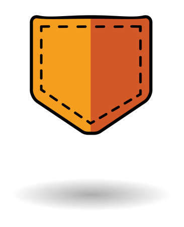 jeans pocket: Jeans pocket vector icon with shadow. Orange pocket icon isolated over white background