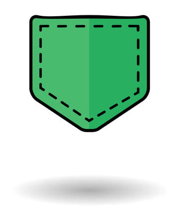 jeans pocket: Jeans pocket vector icon with shadow. Green pocket icon isolated over white background