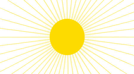 sky sun: Yellow sun with thin rays isolated over white background. Clipart drawing