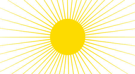 cloudless: Yellow sun with rays isolated over white background, high resolution clipart.