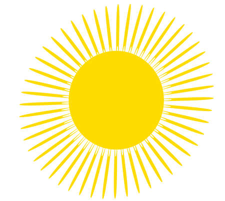cloudless: Yellow sun with rays illustration. Simple childs drawing isolated over white background