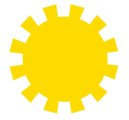 cloudless: Yellow sun with square rays isolated over white background. Child drawing illustration may be used for weather forecast and other concepts Stock Photo