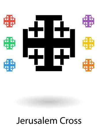 jeruzalem: Jerusalem crosses set vector illustration, holy cross of Jerusalem silhouette