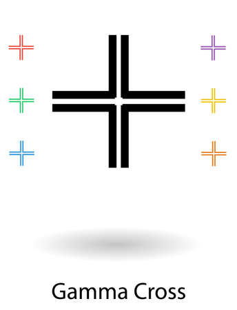 gamma: Gamma or Gammadion crosses set vector illustration, symbolizing Jesus Christ as the cornerstone of the Church