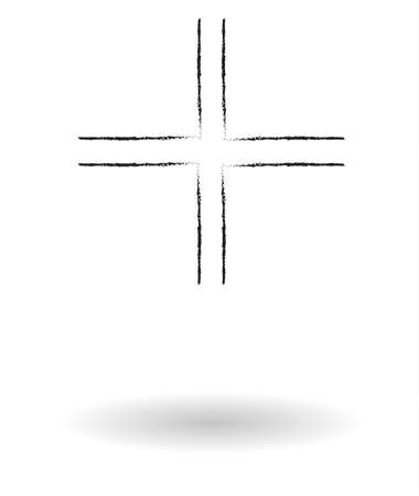 gamma: Gamma cross pencil sketch vector illustration, religious sign drawing