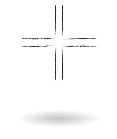 gamma: Gamma cross pencil sketch vector illustration, religious sign drawing