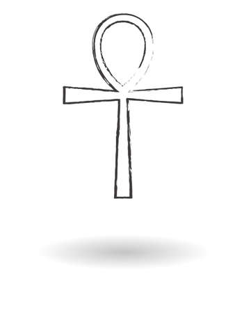 ankh: Ankh cross pencil drawing set vector illustration, Egyptian cross of pharaohs Illustration