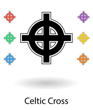 celtic tattoo: Celtic cross vector illustration, cross silhouette isolated over white background with small colored crosses