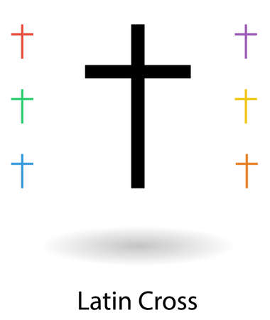 christian symbol: Roman cross set vector illustration, cross silhouette and 6 colored copies of the Roman cross