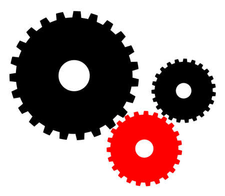 be different: Colored industrial gears vector illustration. Be different concept