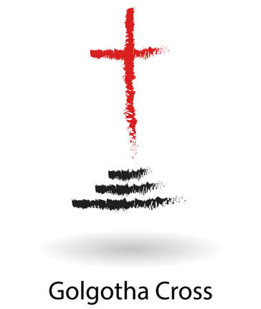 golgotha: Golgotha cross vector sketch drawing, black and red cross silhouette isolated over white background