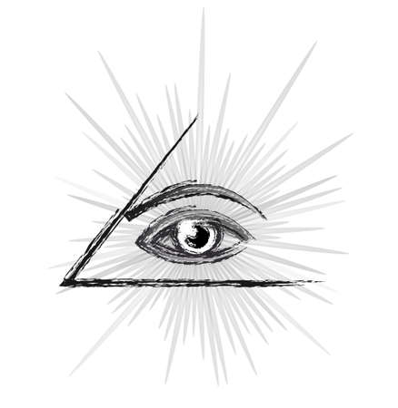 Masonic symbol - All seeing eye of providence in a pyramid, sketch black and white silhouette vector illustration isolated over white background