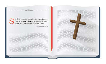 verses: Best Bible verses to remember - Genesis 1:27 NIV. Holy scripture inspirational sayings for Bible studies and Christian websites, illustration isolated over white background Stock Photo