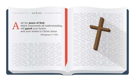 最高の聖書の詩を覚えて - ピリピ 4:7 わたし。神聖な啓典の聖書研究、キリスト教のウェブサイト、白い背景で隔離の図心に強く訴えることわざ 写真素材