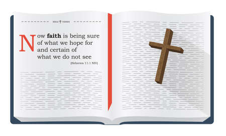 the scriptures: Best Bible verses to remember - Hebrews 11:1 NIV. Holy scripture inspirational sayings for Bible studies and Christian websites, illustration isolated over white background Stock Photo