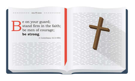 scripture: Best Bible verses to remember - 1 Corinthians 16:13 NIV. Holy scripture inspirational sayings for Bible studies and Christian websites, illustration isolated over white background