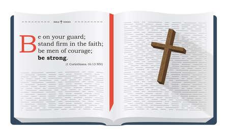 biblia: Las mejores versos de la Biblia para recordar - 1 Corintios 16:13 NVI. Santa Escritura inspirada refranes para estudios bíblicos y sitios cristianos, ilustración aislado sobre fondo blanco
