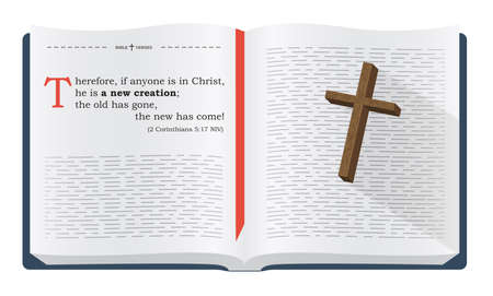 Best Bible verses to remember - 2 Corinthians 5:17 NIV. Holy scripture inspirational sayings for Bible studies and Christian websites, illustration isolated over white background
