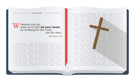 the scriptures: Best Bible verses to remember - Colossians 3:23. Holy scripture inspirational sayings for Bible studies and Christian websites, illustration isolated over white background