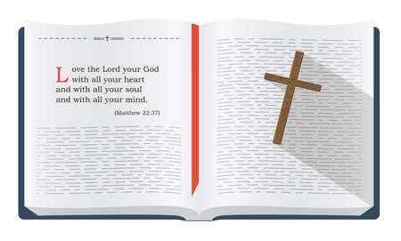 Best Bible verses to remember - Matthew 22:37. Holy scripture inspirational sayings for Bible studies and Christian websites, illustration isolated over white background