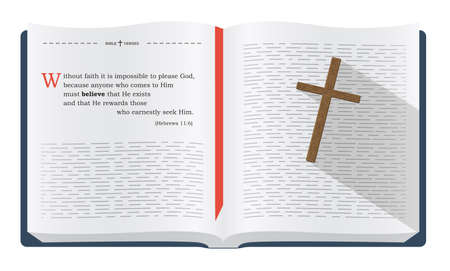 Best Bible verses to remember - Hebrews 11:6. Holy scripture inspirational sayings for Bible studies and Christian websites, illustration isolated over white background