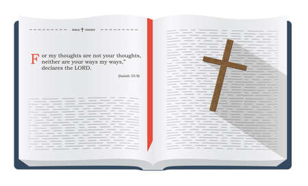 verses: Best Bible verses to remember - Isaiah 55:8. Holy scripture inspirational sayings for Bible studies and Christian websites, illustration isolated over white background Stock Photo