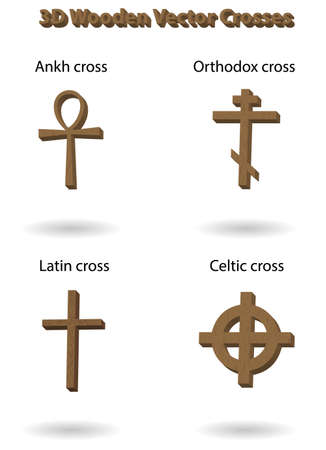 ankh cross: Wooden vector crosses 3D illustration. Egyptian, Russian orthodox, latin and celtic crosses set, isolated over white background