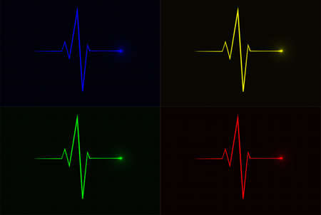 Colored vector pulse icons over cardiogram grid, hospital related vector icons