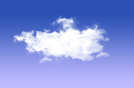 single: Single white cloud isolated over blue sky background
