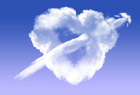 it is isolated: Heart shape white cloud with a cloud arrow going through it, isolated over blue sky background. Love and romantic passion conceptual illustration