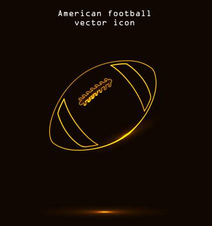golden ball: American football vector icon outline. Glowing golden ball illustration