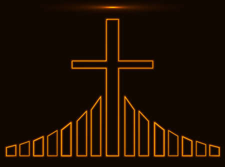 golgotha: Glowing golden Christian cross vector illustration. Church logo concept isolated over black background Illustration