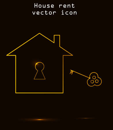 burning money: House rent or house for sale, real estate vector icon isolated over black background. Yellow glowing key and key hole