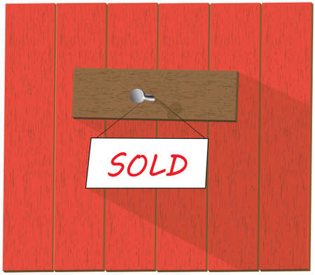 sold isolated: Vector wooden fence and a sign saying Sold, isolated over white background vector illustration