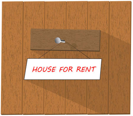 house for rent: Vector wooden fence and a sign saying House For Rent, isolated over white background vector illustration