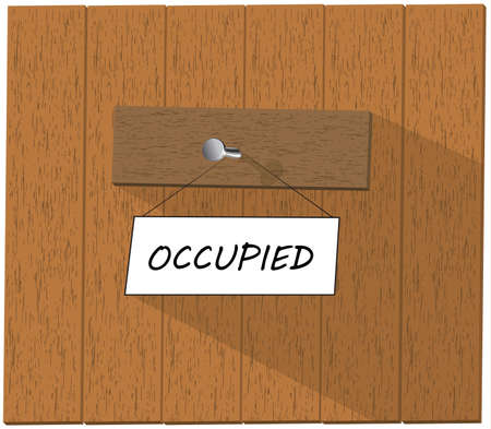 occupied: Wooden fence and a sign saying Occupied,  isolated over white background illustration