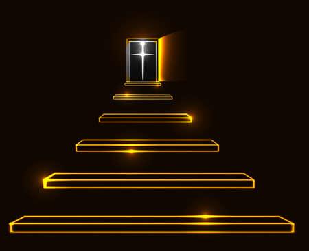 resurrección: Escalera al cielo ilustración vectorial. La muerte, la resurrección y el concepto de paraíso