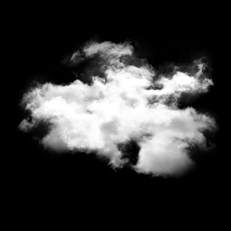 cloudless: Single cloud shape isolated over black background illustration, nature and technology concept Stock Photo