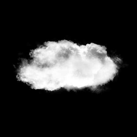 Single white cloud isolated over black background illustration, nature and technology concept