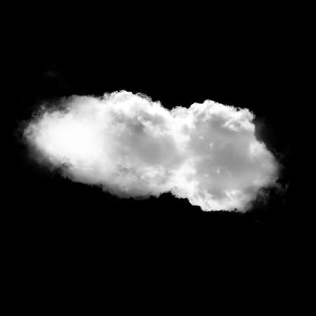 cloudless: Single white cloud isolated over black background illustration, nature and technology concept