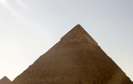 chephren: Pyramid of Khafre pyramid of Chephren in the sun rays. Ancient monuments of Egypt Stock Photo