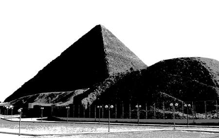 cheops: The Great Pyramid at Giza grey outline, artistic photo of pyramids isolated over white background. Newspaper-like black and white photo of Pyramid of Khufu, Pyramid of Cheops in Egypt Stock Photo