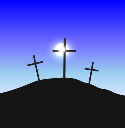 Three crosses silhouettes standing on Golgotha in the lights of the sun Christian conceptual illustration