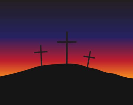 golgotha: Three crosses silhouettes standing on Golgotha in the lights of daybreak. Christian conceptual illustration Illustration