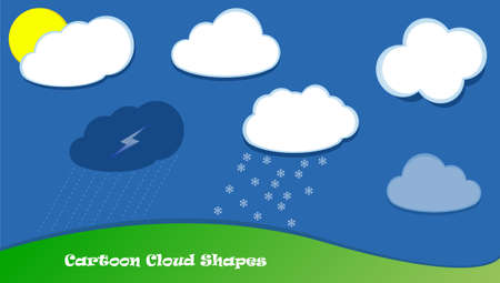 raining: White vector clouds cartoon shapes, raining clouds snow, good weather forecast Illustration