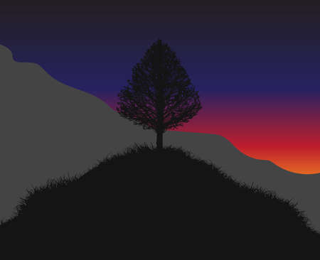 Vector hill with a lonely tree on the top. Hills and mountains covered with grass in the lights of the dawn