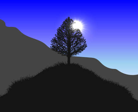 Vector hill with a lonely tree on the top. Hills and mountains covered with grass in the lights of the daylight sun