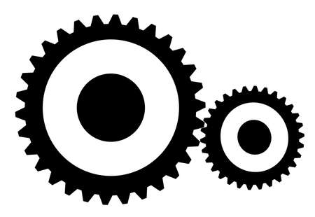 instrumentation: Two black and white gears rotating, conceptual illustration