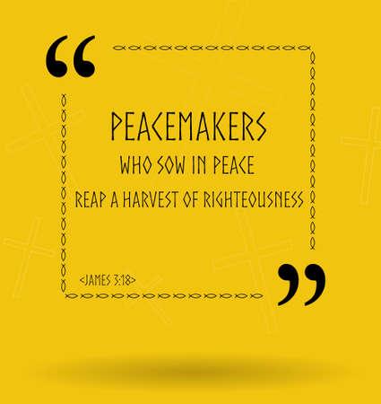 peacemaker: Best Bible quotes about peace and peacemakers. Christian sayings for Bible study flashcards illustration Stock Photo
